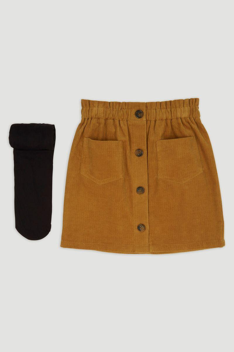 Tan Cord Skirt & Tights
