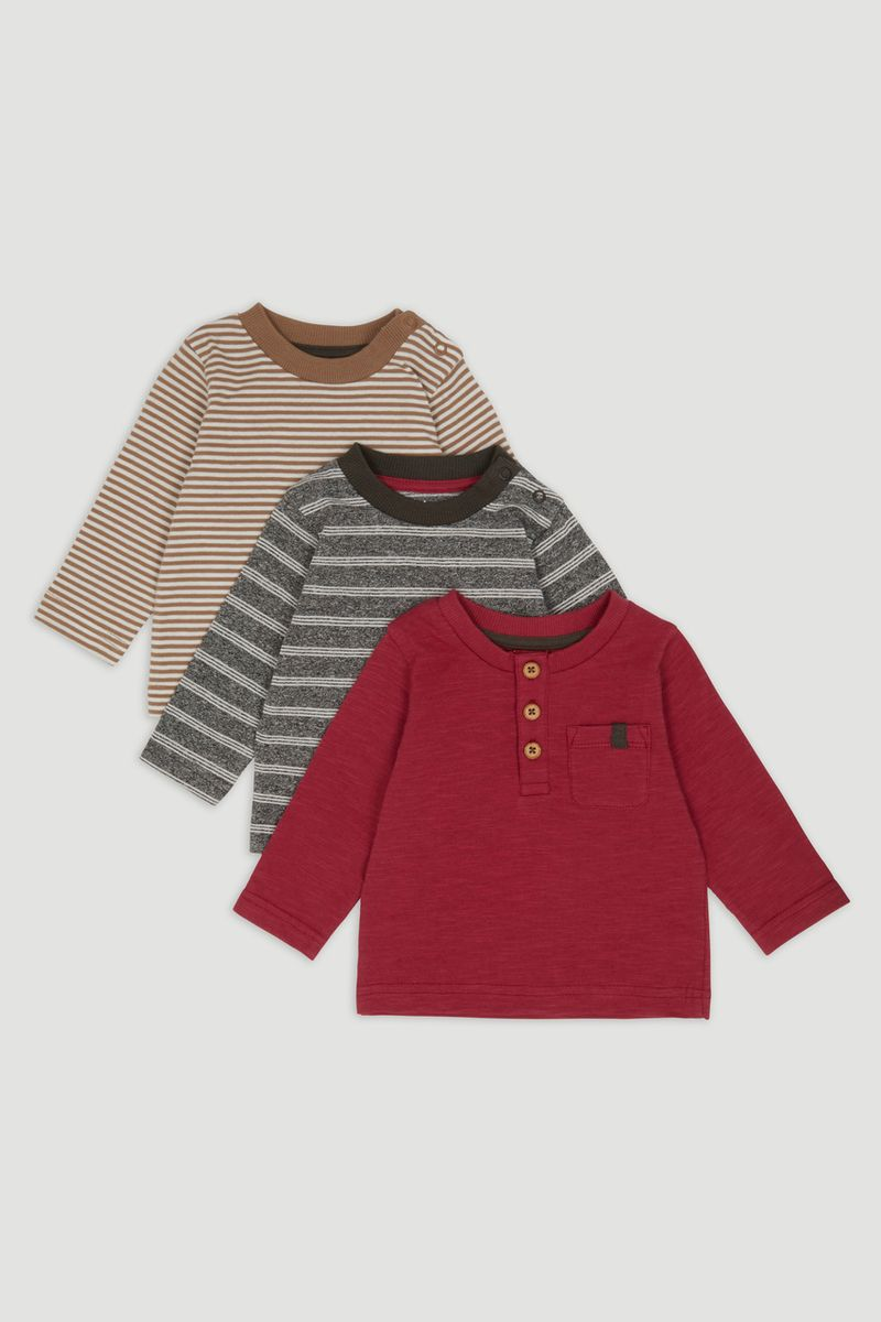 3 Pack Henley Long Sleeve T-shirts