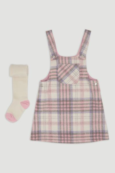 Pink Brushed Check Pinafore Dress 1-6yrs
