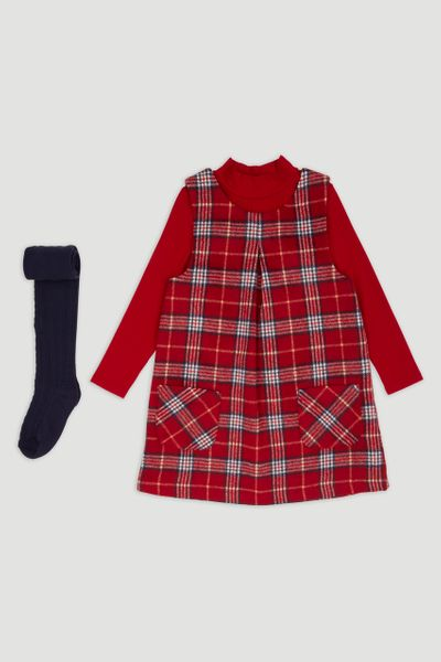 Red Check Pinafore Dress set 1-6yrs