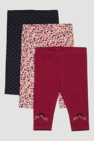3 Pack Burgundy Bow & Flower Leggings