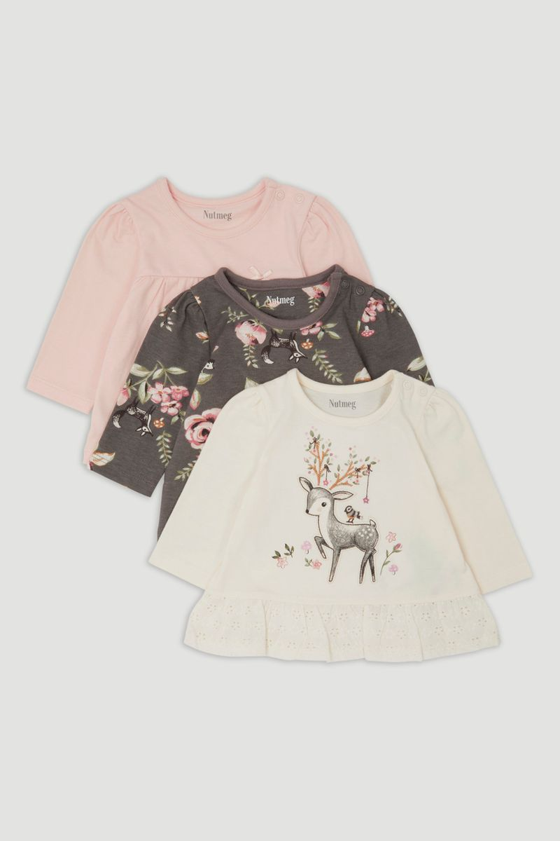 3 Pack Deer Long Sleeve T-Shirts