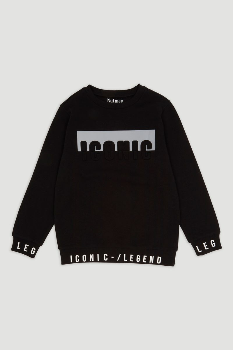 Reflective Panel Slogan Sweatshirt