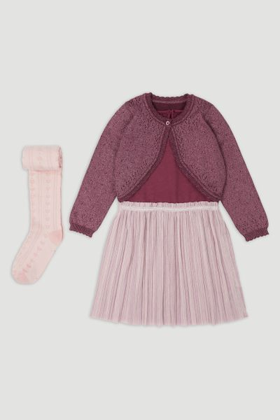 Purple Dress & Cardigan set