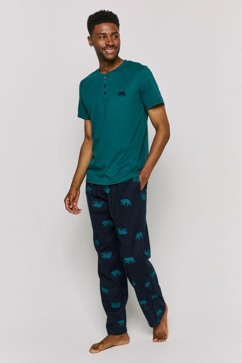 Green Henley Bear Embroidered Pyjamas