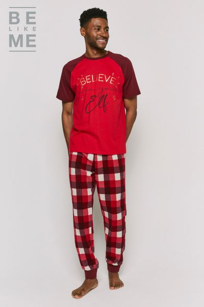 Family Of Mens Christmas Elf Pyjamas