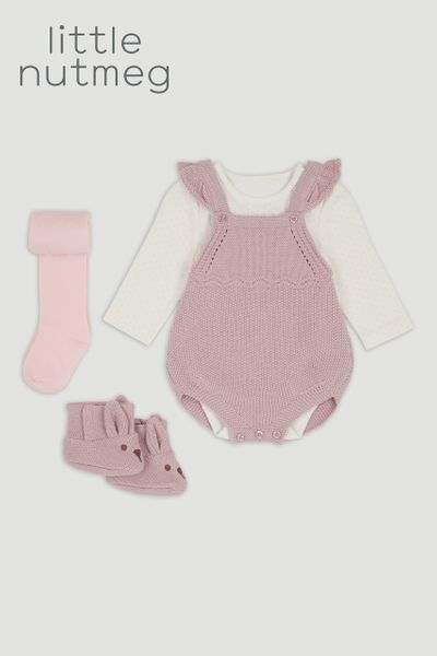 Little Nutmeg Lilac Knitted Romper set