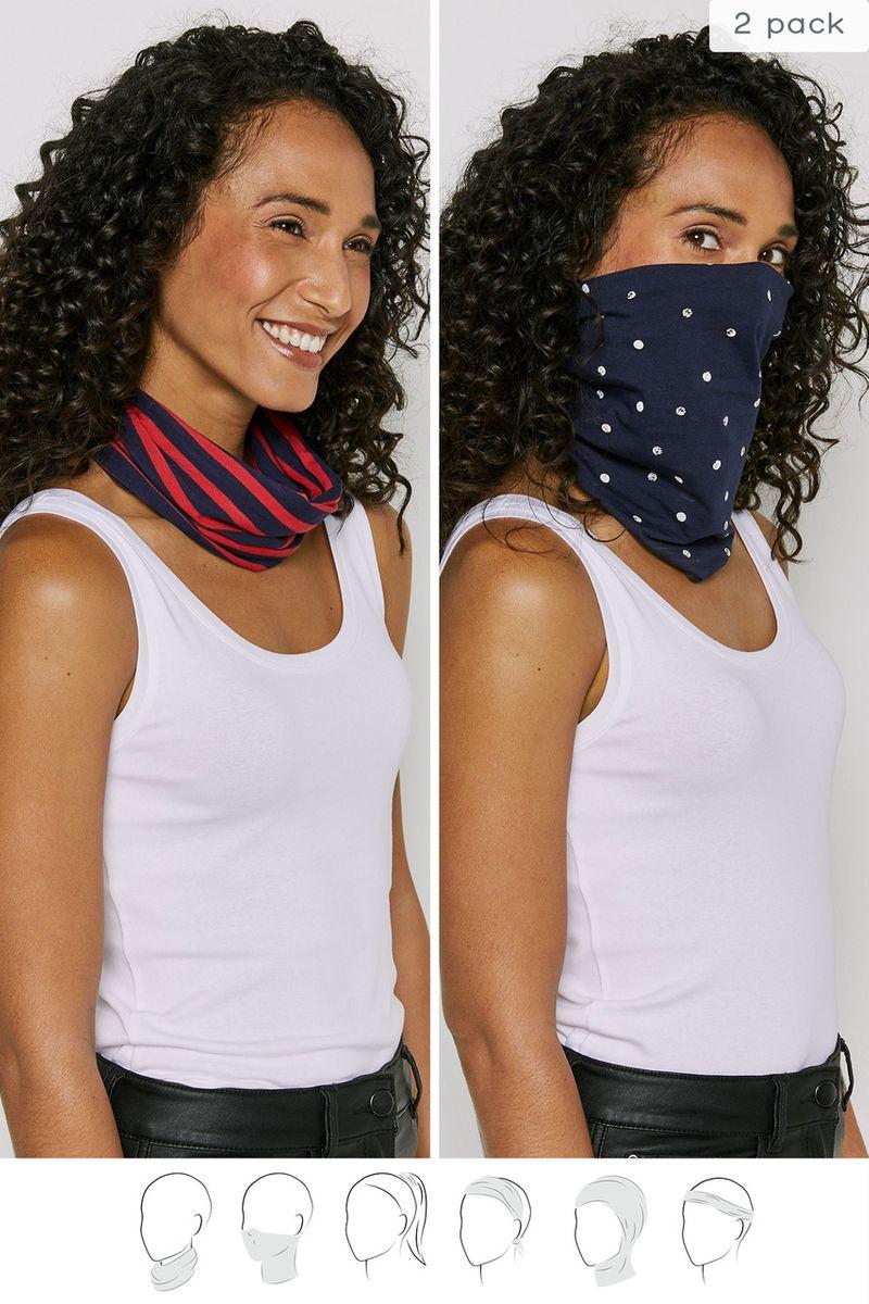 2 Pack Multi-use Spots & Stripes Neck Bands