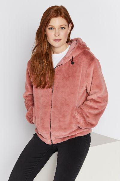 Pink Faux Fur Hoodie