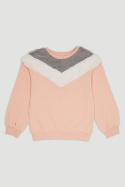 Fluffy Chevron Yoke sweatshirt