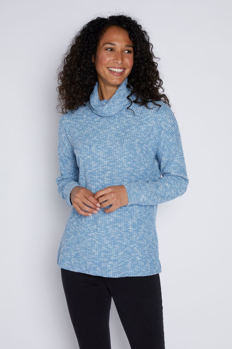 Blue Cowl Neck Tunic