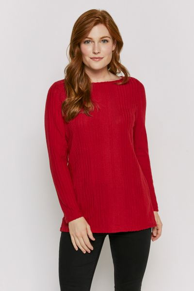 Red Cosy Ribbed Tunic