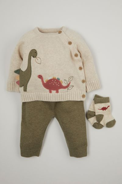 3 Piece Green Dinosaur Knitted set