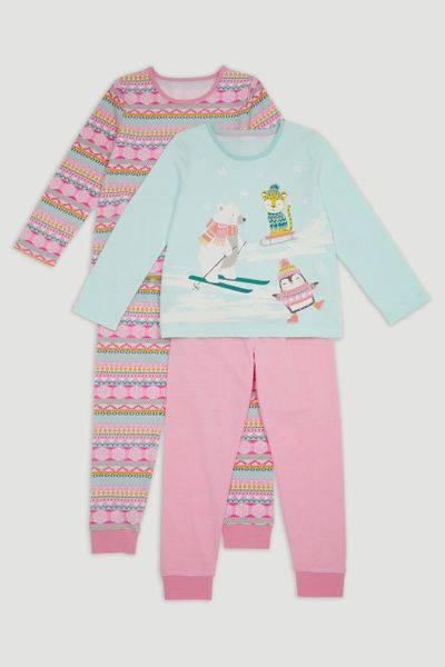 2 Pack Fairisle Animal Pyjamas