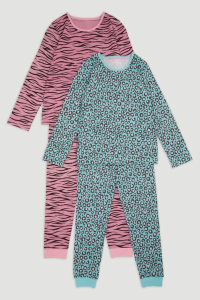 2 Pack Animal Print Pyjamas