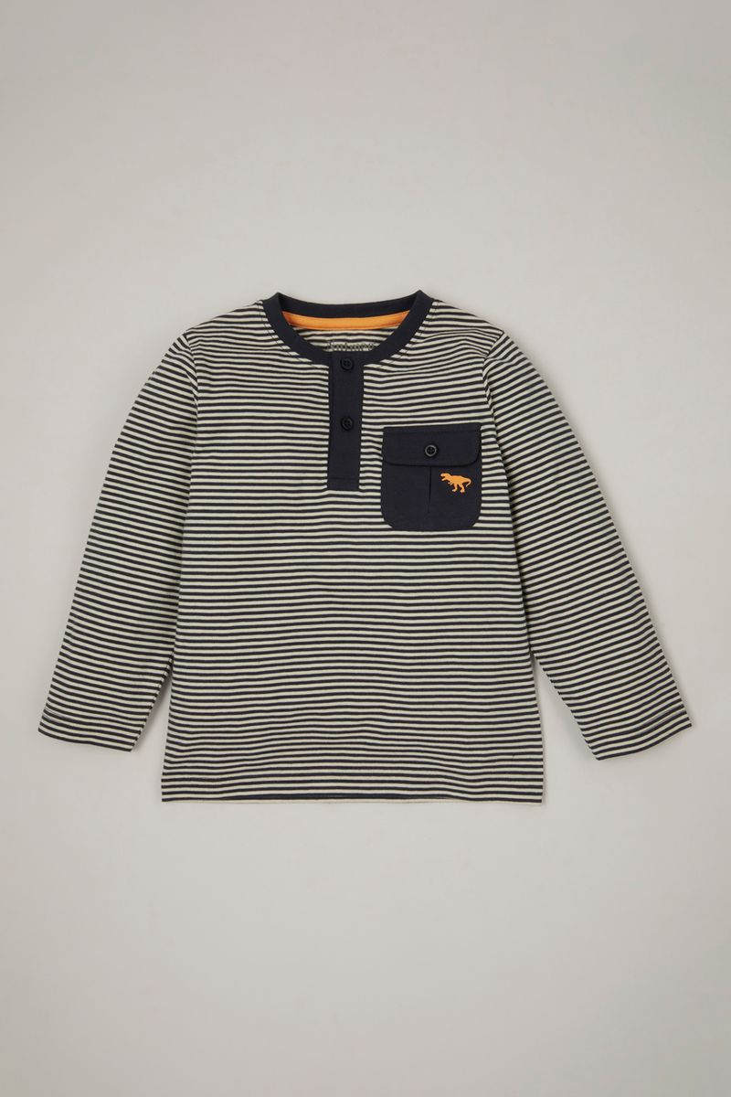 Stripe Dino Embroidered T-shirt