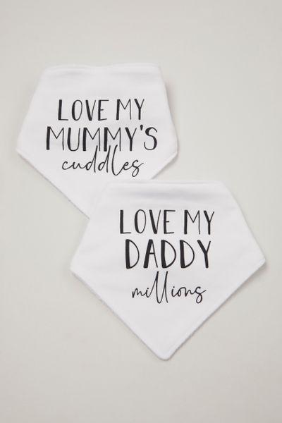 2 Pack White Mummy & Daddy Bandana Bibs