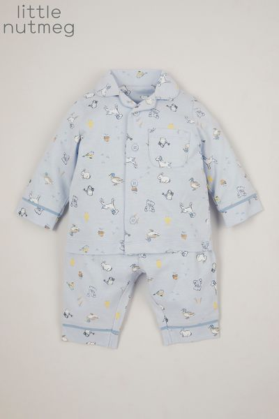 Little Nutmeg Blue Woven pyjamas