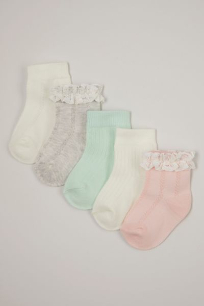 5 Pack Pastel Lace socks