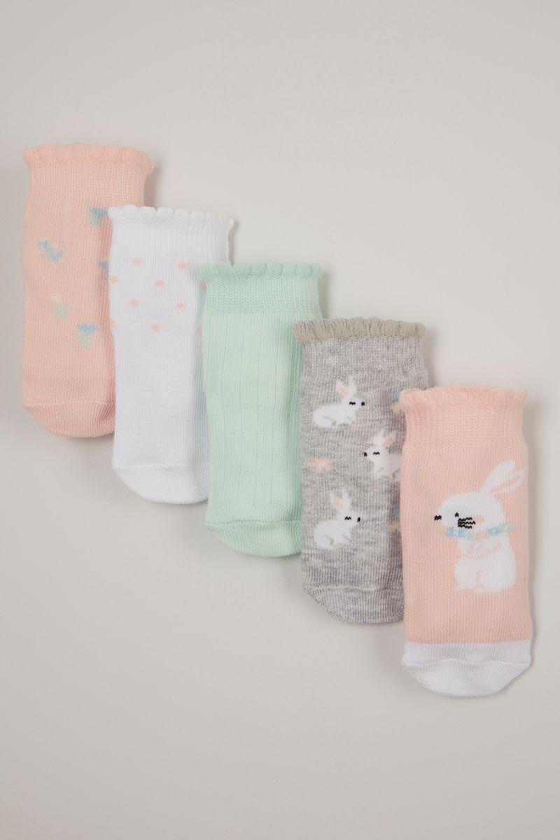 5 Pack Pink Bunny socks