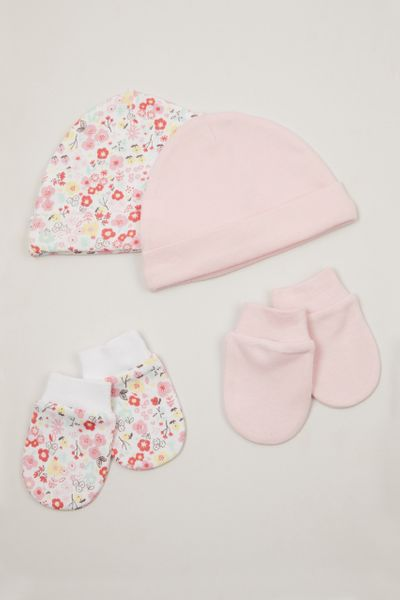 2 Pack Pink Hats & Scratch mitts