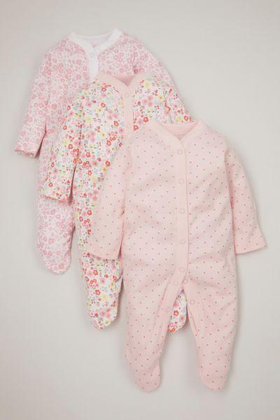 3 Pack Pink Flower & Spot sleepsuits
