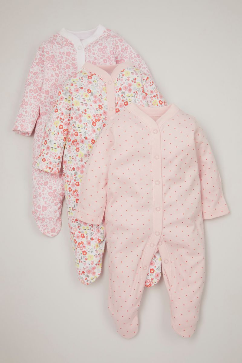 3 Pack Pink Flower & Spot sleepsuits