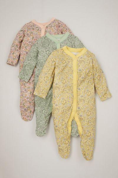 3 Pack Pastel Flower Sleepsuits
