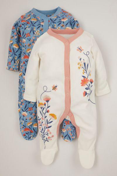 2 Pack Blue Flower Sleepsuits