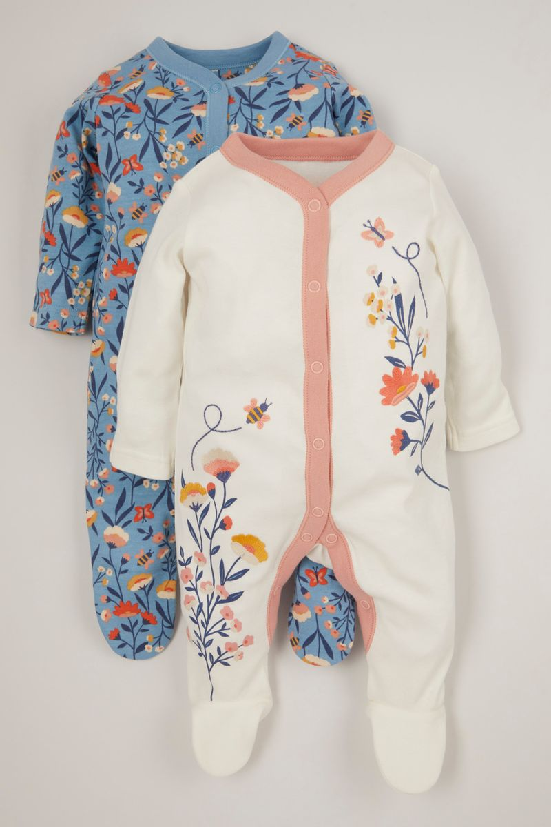 2 Pack Blue Flower Sleepsuits