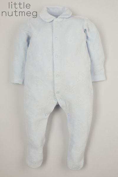 Little Nutmeg Blue Velour Bear sleepsuit