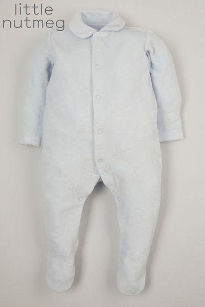 Little Nutmeg Blue Velour Bear sleepsuit