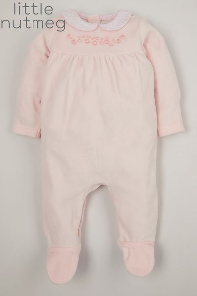 Little Nutmeg Pink Flower Velour sleepsuit