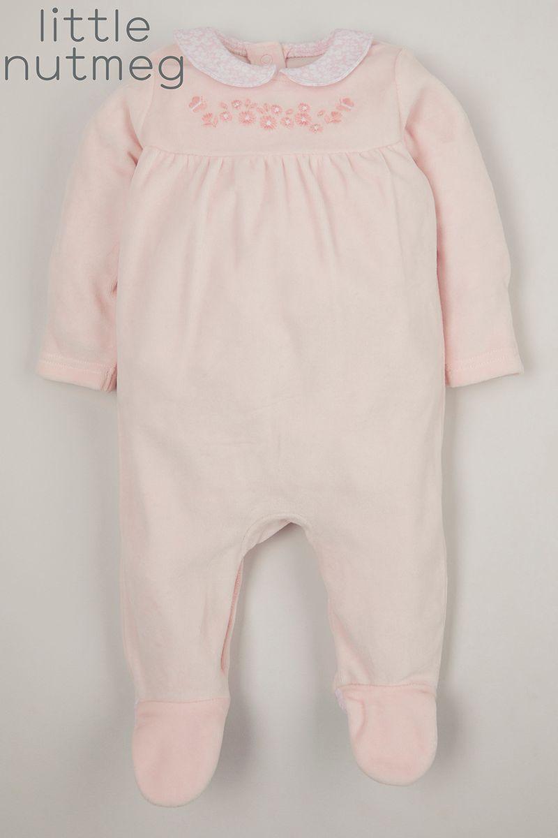 Little Nutmeg Pink Flower Velour sleepsuit