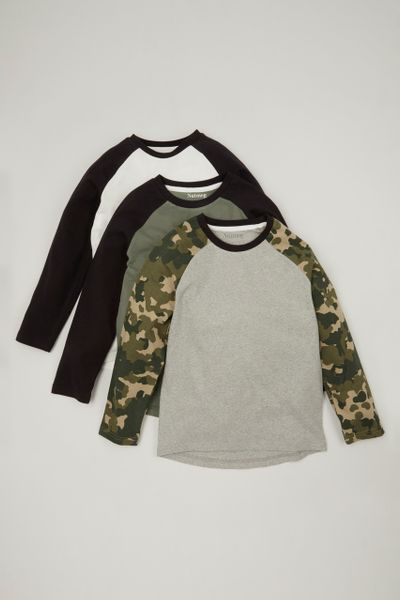 3 Pack Camo Raglan T-shirts 1-14yrs
