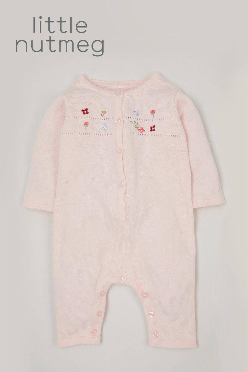 Little Nutmeg Pink Knitted romper