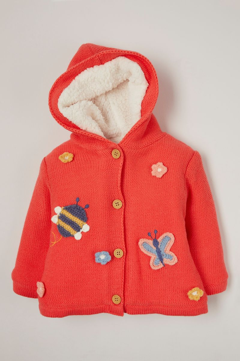 Coral Bumblebee Lined cardigan