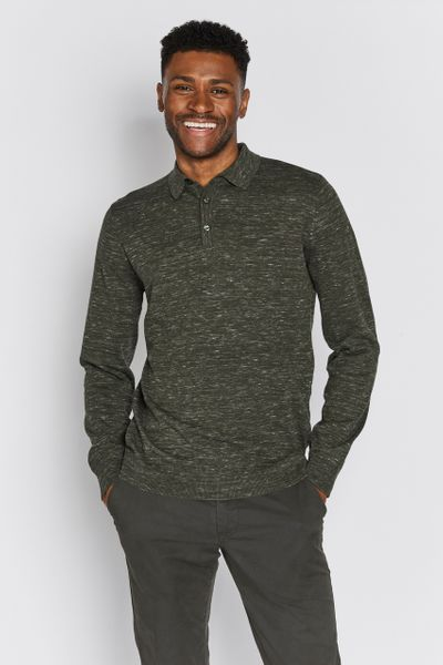 Khaki Long Sleeve Knit polo