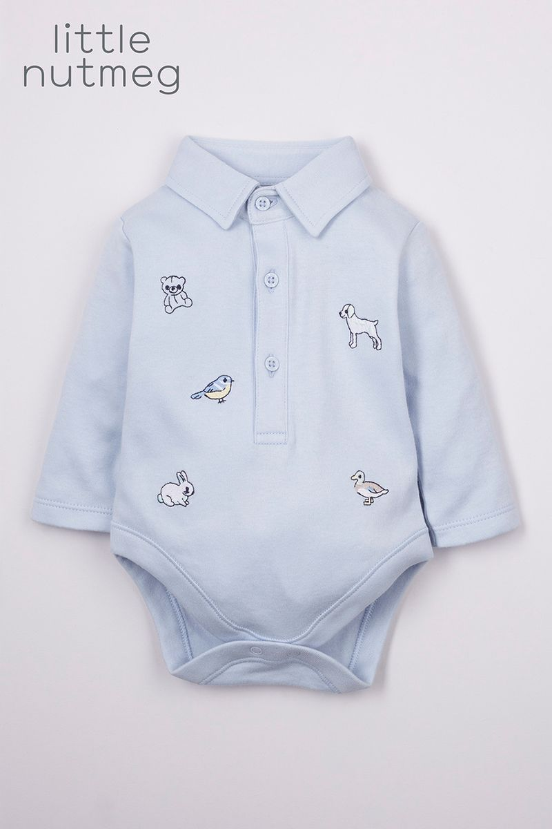 Little Nutmeg Blue Embroidered Bodysuit