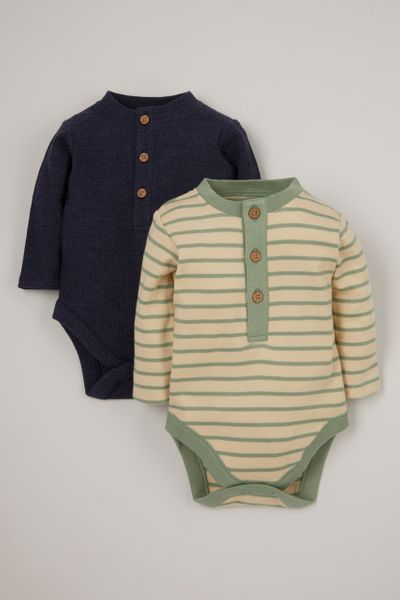 2 Pack Navy & Stripe Bodysuits