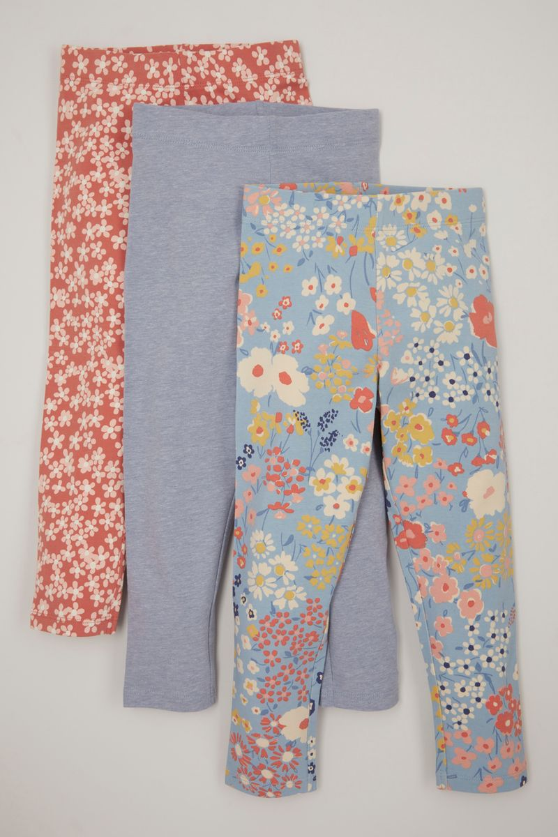 3 Pack Blue & Flower Leggings