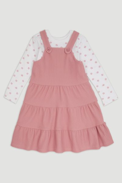 2 Piece Pink Pinafore Dress set