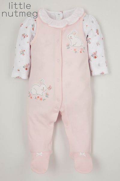 Little Nutmeg Pink Bunny Dungaree set