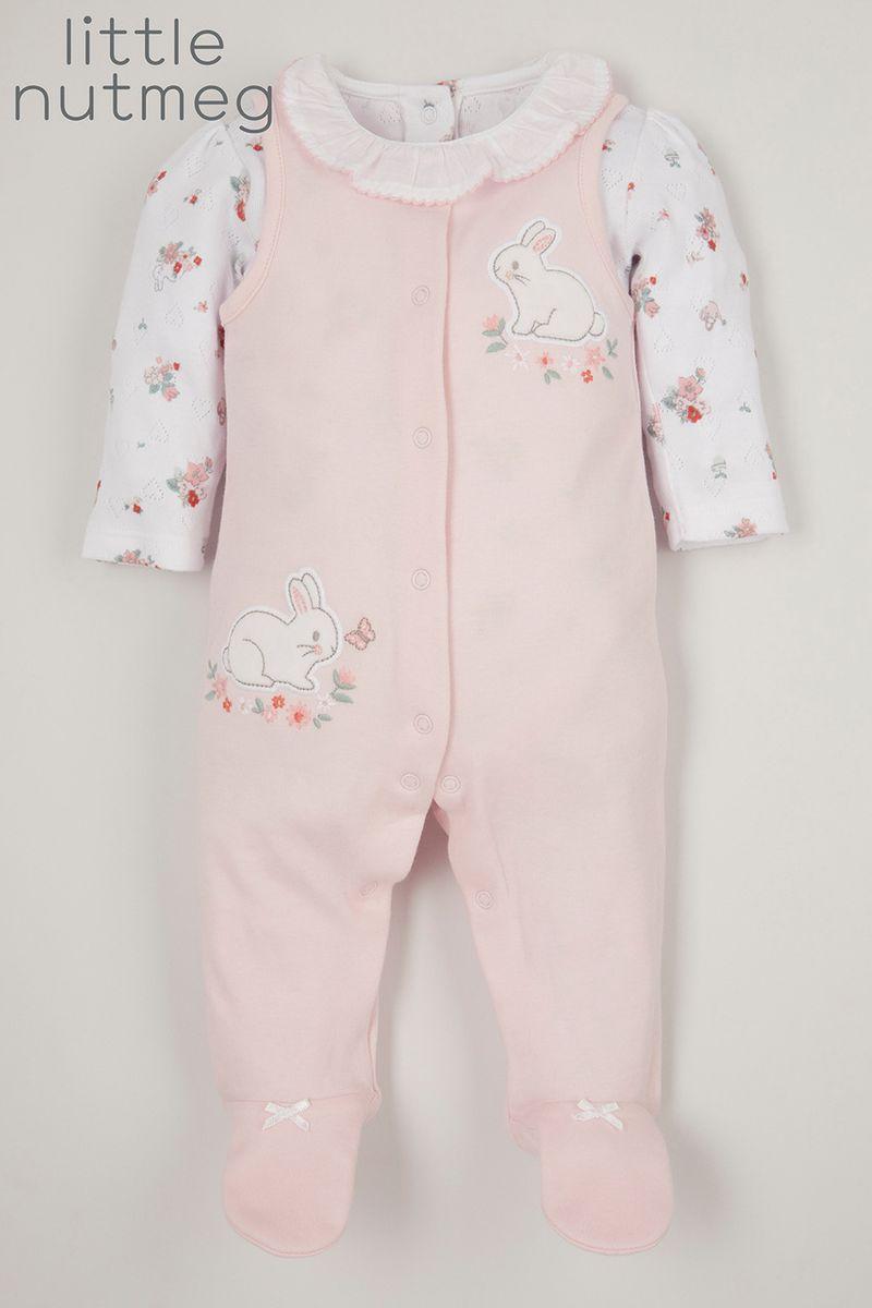Little Nutmeg Pink Bunny Dungaree set