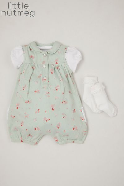 Little Nutmeg Green Flower Romper set