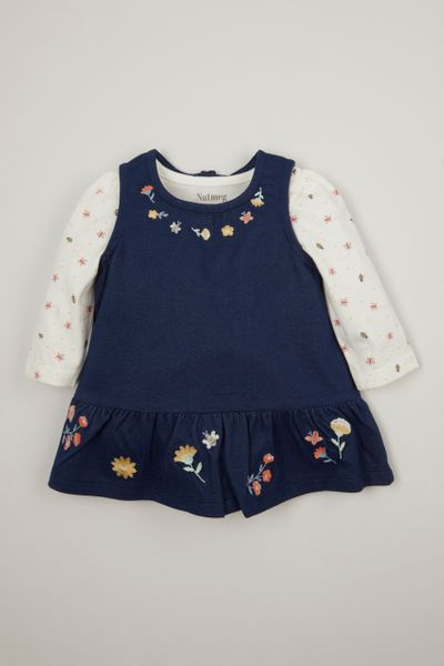 Denim Jersey Pinafore Dress set