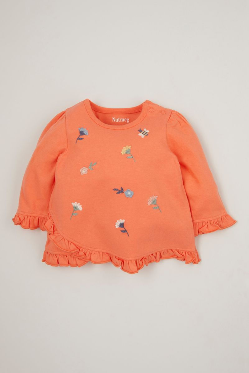 Coral Embroidered T-shirt