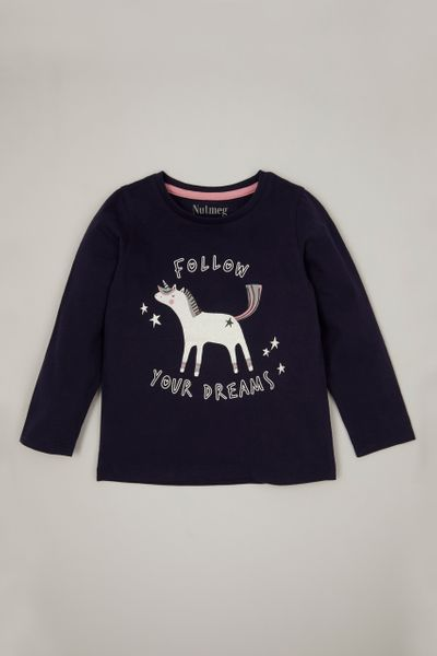 Navy Unicorn T-shirt 1-10yrs