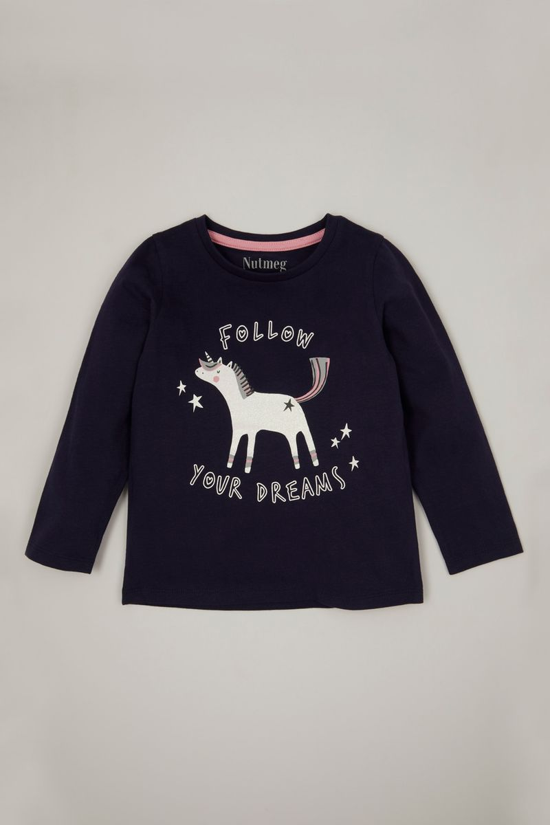 Navy Unicorn T-shirt 1-10yrs