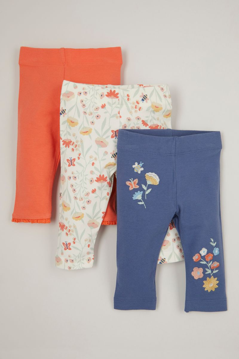 3 Pack Embroidered Flower Leggings